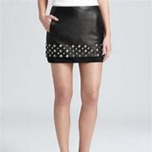 Diane Von Furstenberg Elley studd  leather skirt